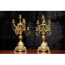 Pair of Rococo style gilded bronze candlesticks