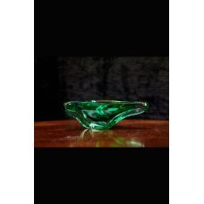 Green glass bowl of Vintage style