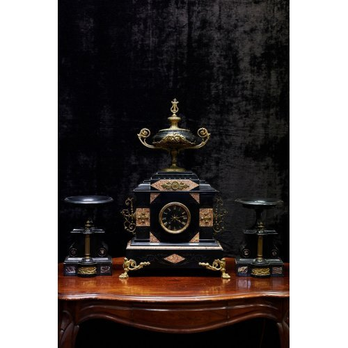 Rococo style marble mantel clock with 2 candlesticks
