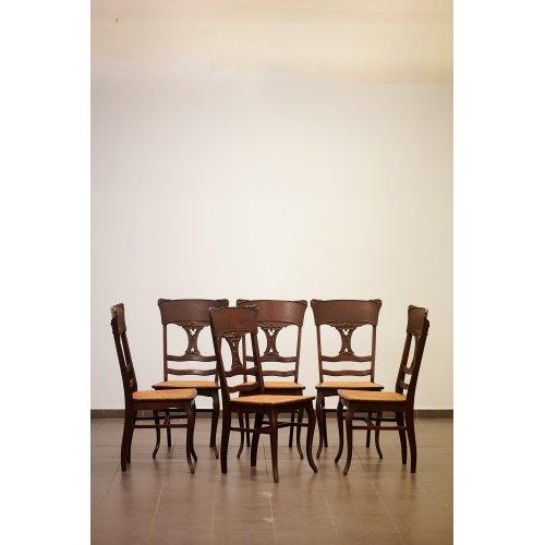 Antique oak chair set (6 pcs)
