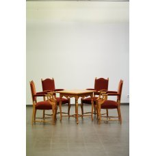 Antique gaming table and 4 armchairs