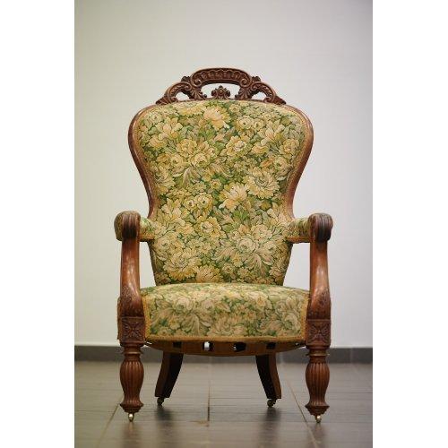 Antique, walnut armchair