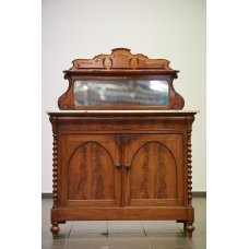 Antique mahogany buffet with marble surface