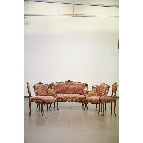 Rococo style, walnut lounge chair set