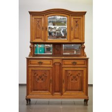 Antique, oak buffet with walnut inlays and bronze elements