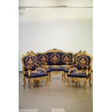 Antique style lounge set, sofa and 4 armchairs