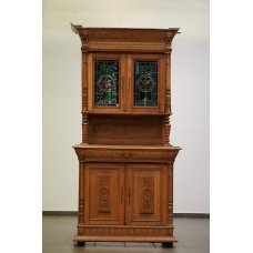 Antique oak buffet with glass stained