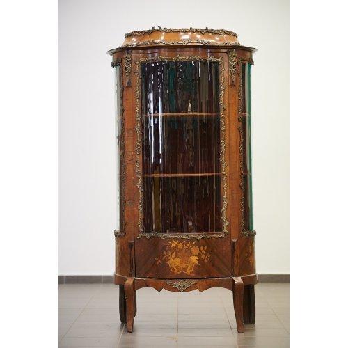 Antique mahogany showcase with walnut inlays