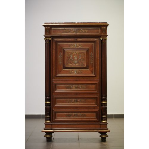 Antique mahogany cabinet with bronze inlays