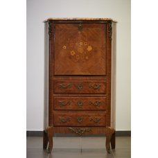 Antique secretaire of rosewood and mahogany with wood inlay