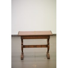 Oak table with leather top