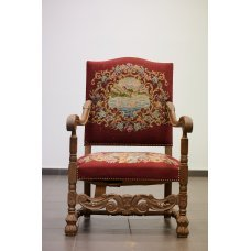 Antique walnut chair with Tapestry