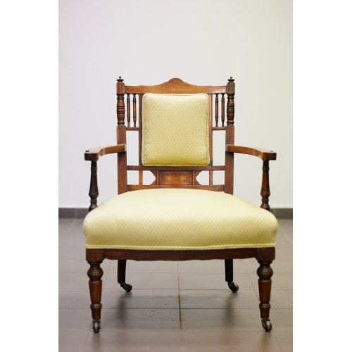 Antique walnut lounge chair with wooden inlaid
