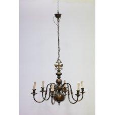 Antique brass chandelier with bronze elements