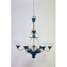 Painted bronze chandelier with white glass domes