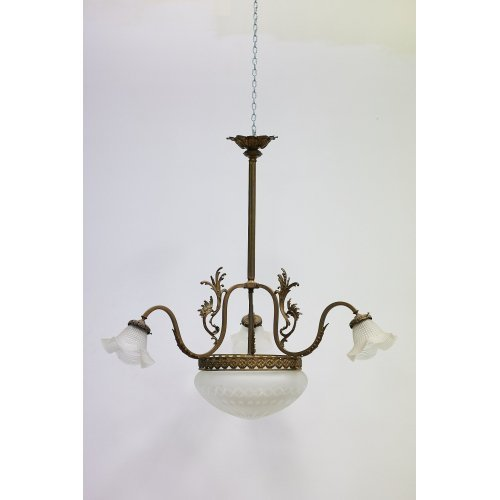 Jugendstyle chandelier with a bronze finish