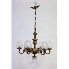 Antique chandelier with 7 lamps, an interior item made of bronze and glass
