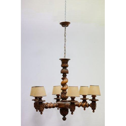 Vintage chandelier made of Oak