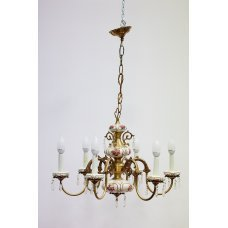 Antique brass chandelier with ceramic and glass elements