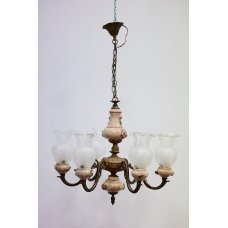 Jugend style bronze chandelier with ceramic elements and glass domes