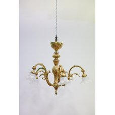 Antique bronze chandelier with glass domes
