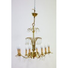 Antique brass chandelier with crystal elements