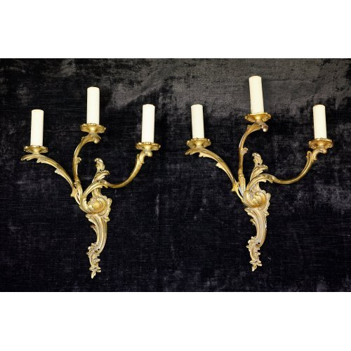 French pair of gilded bronze antique wall lights