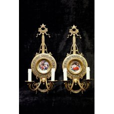 Pair of French Decorative Wall lights with painted porcelain