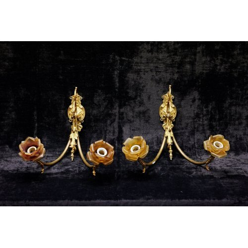 Antique pair of sconces of bronze with glass domes in the form of flowers