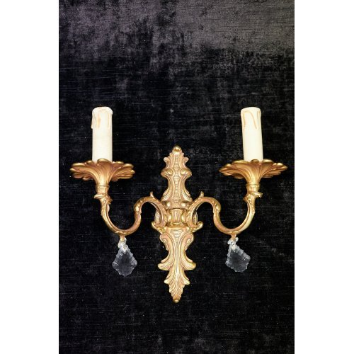 Antique sconce of bronze with glass elements
