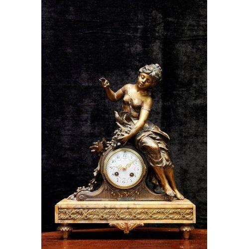 French of Napoleon III bronze gilt mantel clock