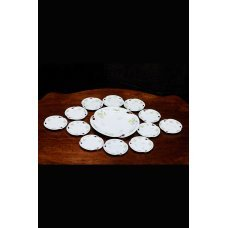 Porcelain set of 12 breakfast plates and a dish