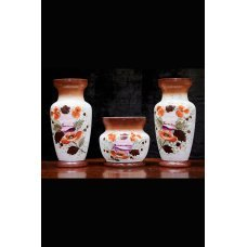 Hand-painted  ceramic set of 3 vases