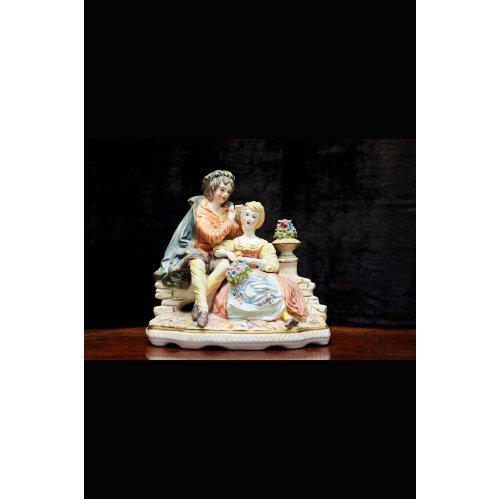 """Ceramic figure Capo De Monte """"bride and groom"""""""