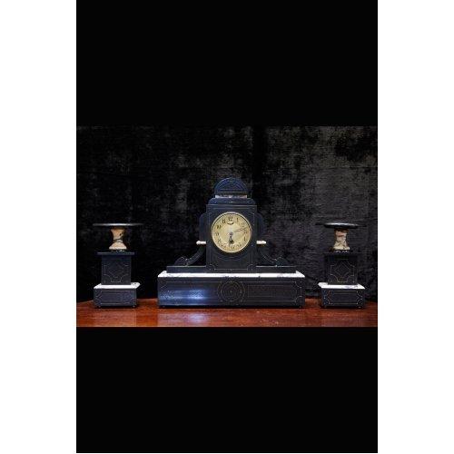 Antique mantel clock with candlesticks