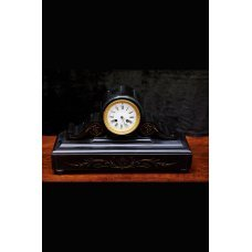 Mantel clock, marble with gold inlay