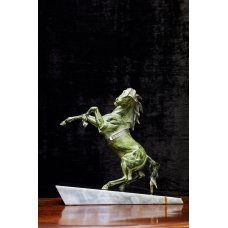 Antique bronze horse on marble base