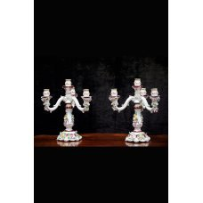 Ceramic candlesticks of Corsi hand-painted