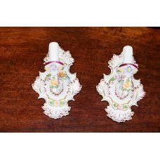 Ceramic pair of wall lights of Corsi hand-painted