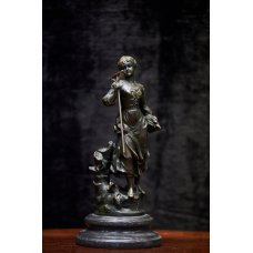 A new bronze sculpture with a marble base