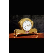 Table clock, hand-painted with bronze elements