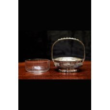 Vintage style glass bowl in metal framework