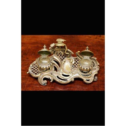 Rococo style bronze inkstand