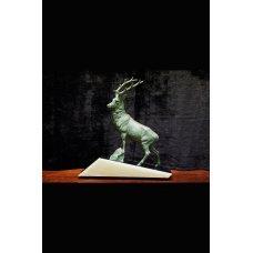 """Art Deco bronze sculpture """"Deer"""" on a stone base"""