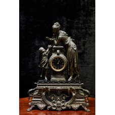 Antique French bronze and marble mantel clock