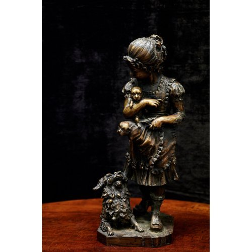 """Vintage style bronze sculpture """"Girl with dogs"""""""