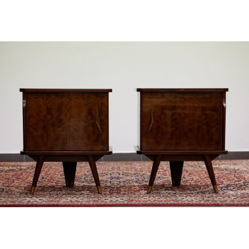 Art Deco pair of night stands from lacquered wood