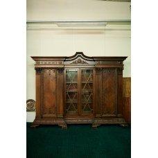 Antique walnut and mahogany bookcase