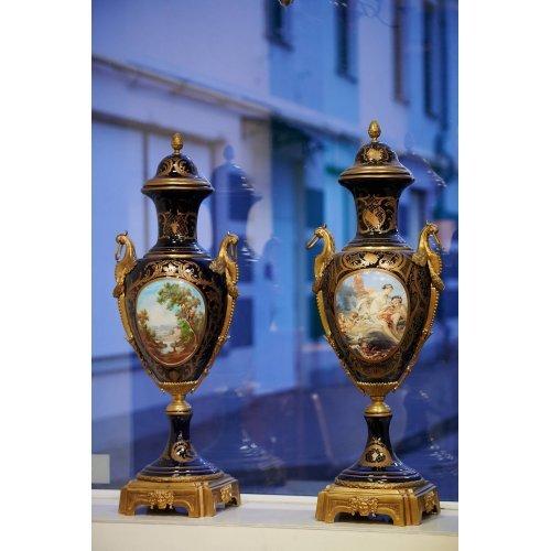 Antique vases of cobalt blue porcelain