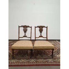 Antique mahogany and walnut low armchairs